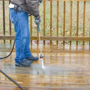 pressure washer on wood floor